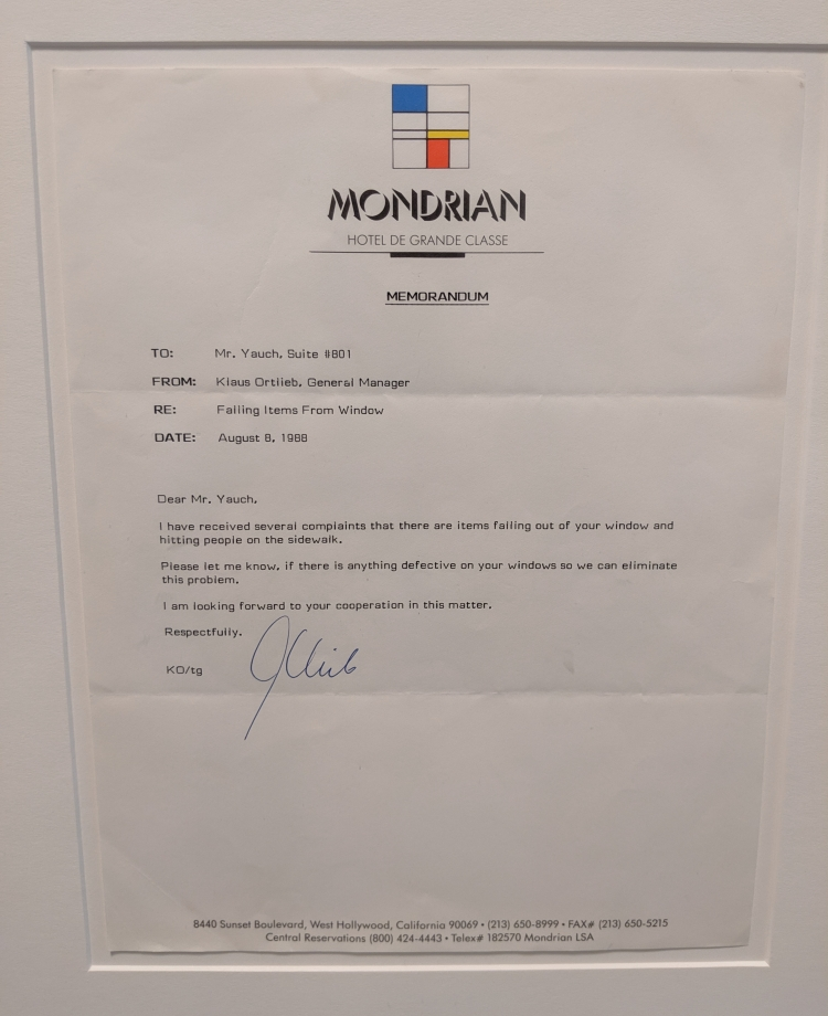 letter from the Mondrian hotel about Beastie Boys behaviour